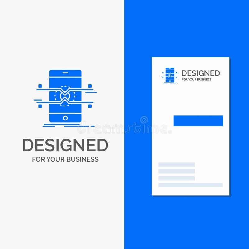 Logo di affari per l'api, interfaccia, cellulare, telefono, smartphone Modello biglietto da visita/di affari blu verticali illustrazione vettoriale