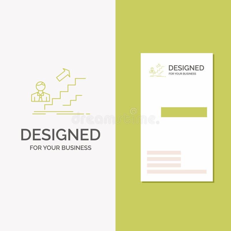 Logo di affari per la promozione, successo, sviluppo, capo, carriera Modello biglietto da visita/di affari verdi verticali creati illustrazione di stock
