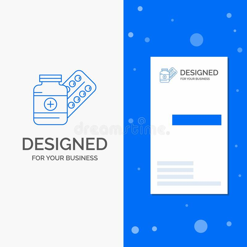 Logo di affari per medicina, pillola, capsula, droghe, compressa Modello biglietto da visita/di affari blu verticali illustrazione vettoriale