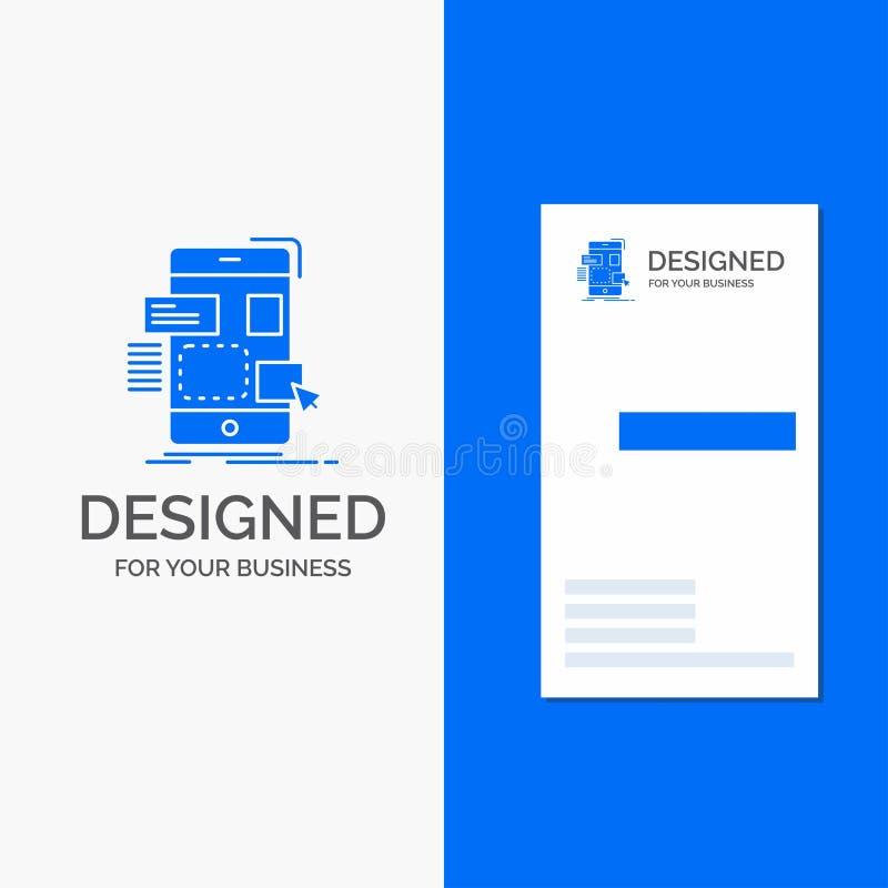 Logo di affari per resistenza, cellulare, progettazione, ui, ux Modello biglietto da visita/di affari blu verticali illustrazione di stock