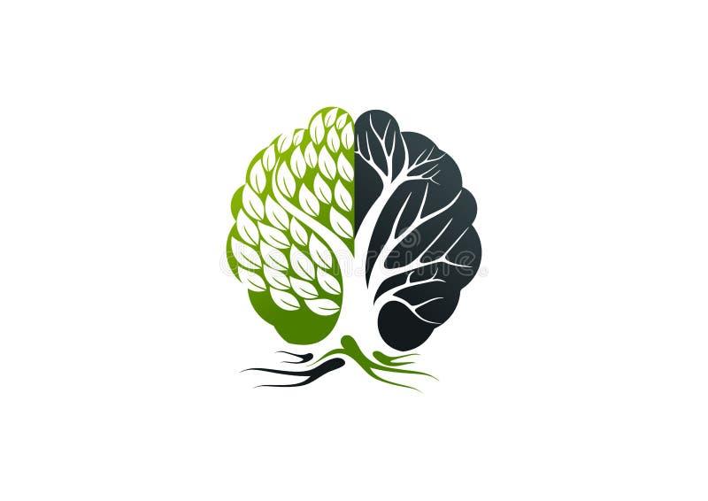 Logo di Alzheimer, progettazione di massima del cervello dell'albero illustrazione di stock
