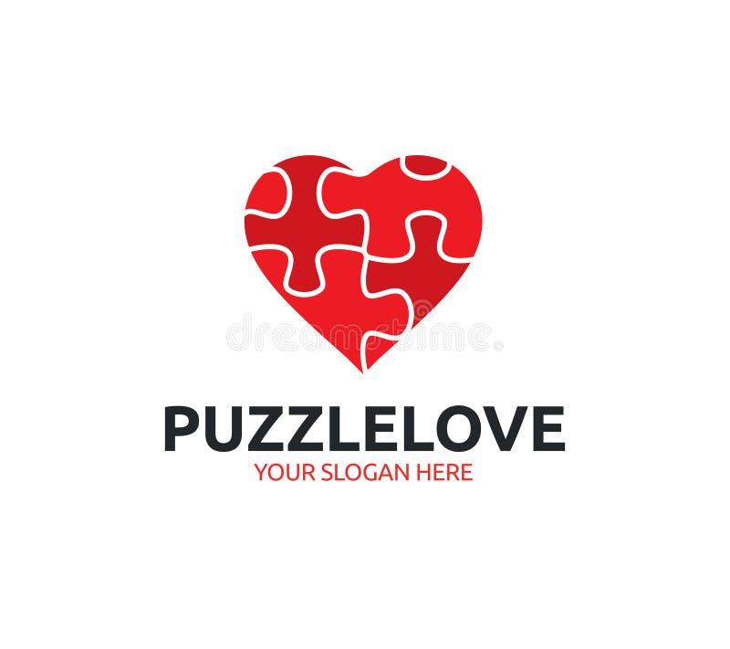 Logo di amore di puzzle illustrazione vettoriale