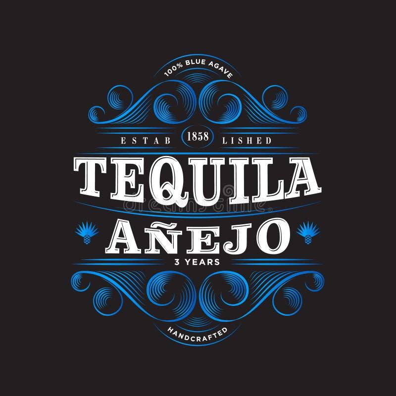 Logo di Anejo di tequila Etichetta di tequila Progettazione di imballaggio premio Iscrizione degli elementi con lettere decorativ illustrazione vettoriale