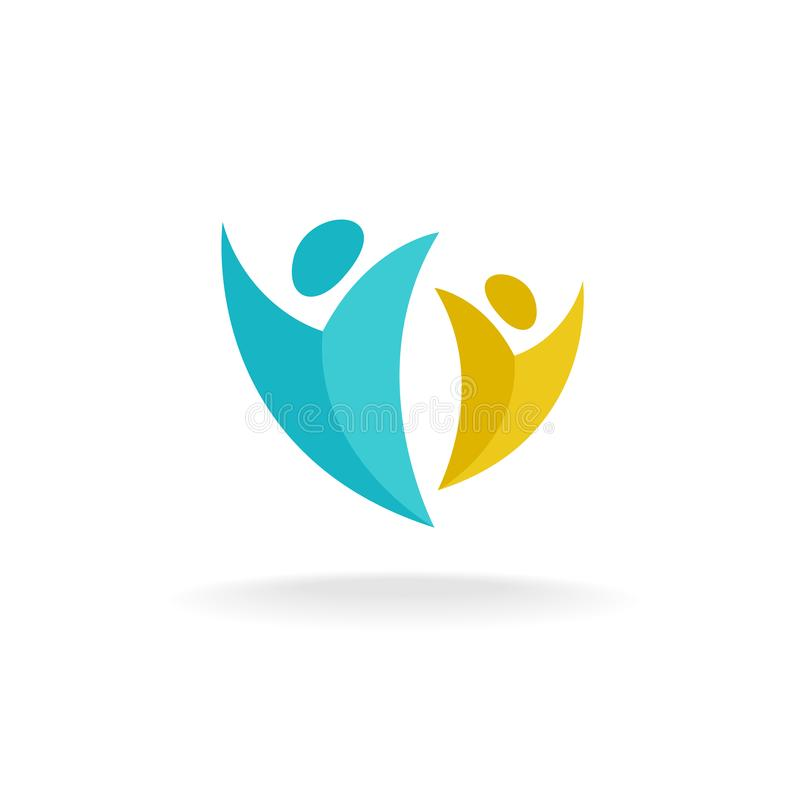 Logo di aumento della gente illustrazione di stock