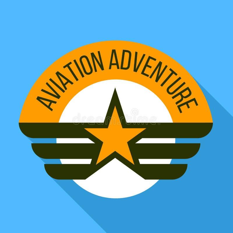Logo di avventura di aviazione, stile piano illustrazione vettoriale