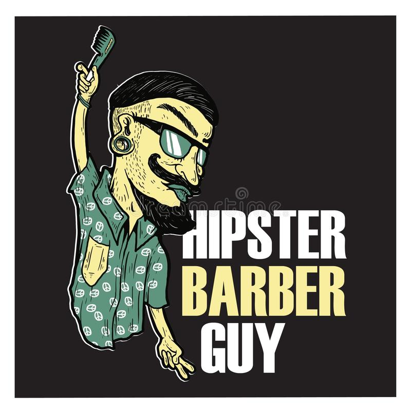 Logo di Barber Guy Illustration Cartoon dei pantaloni a vita bassa royalty illustrazione gratis