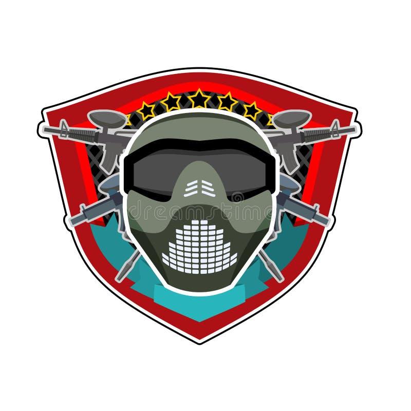 Logo di battaglia Casco ed armi di paintball Emblema militare esercito illustrazione vettoriale