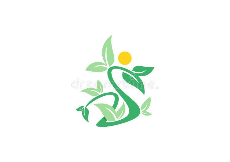 Logo di bellezza della stazione termale, simbolo della gente della pianta di benessere, vettore di progettazione dell'icona della illustrazione di stock