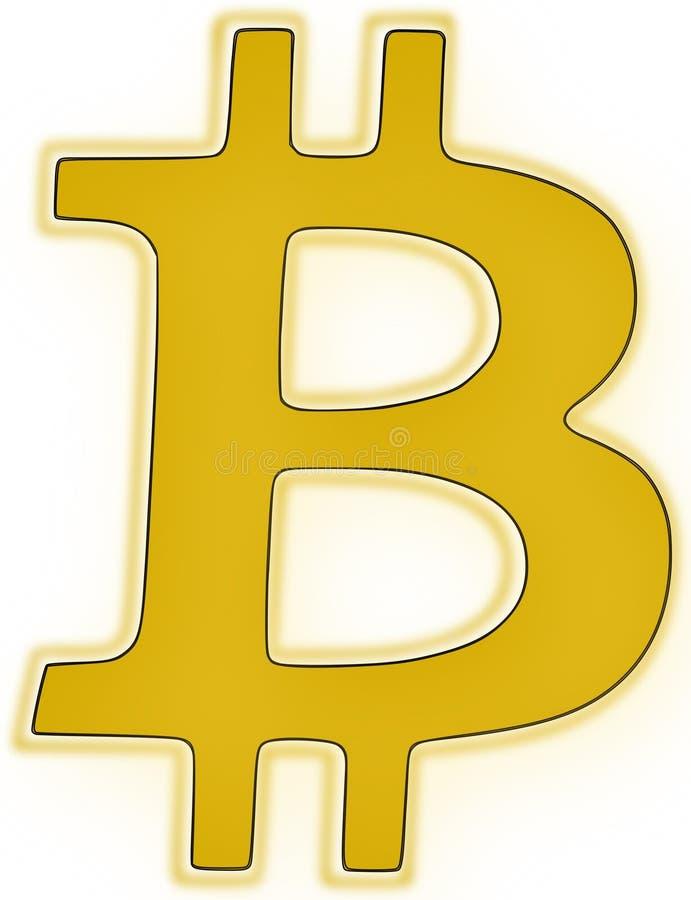 Logo di Bitcoin nell'illustrazione dorata di vettore di colore immagini stock libere da diritti