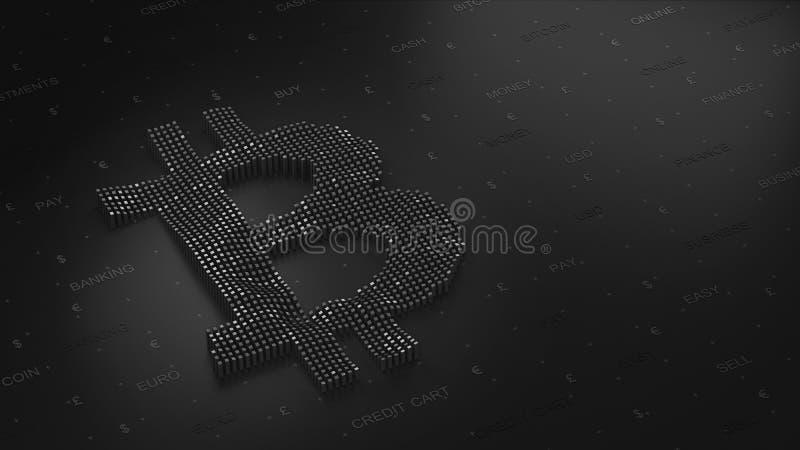 Logo di Bitcoin su un fondo scuro in 3D fotografia stock libera da diritti