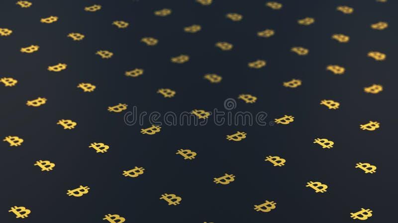 Logo di Bitcoin su un fondo scuro in 3D fotografie stock libere da diritti
