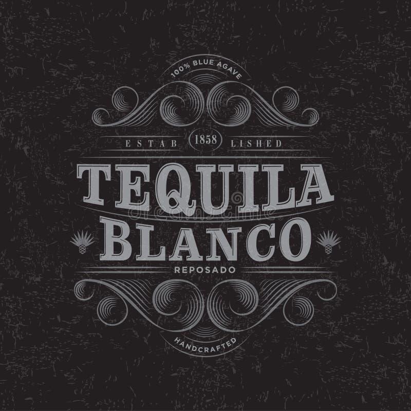 Logo di Blanco di tequila Etichetta di Blanco di tequila Progettazione di imballaggio premio Iscrizione degli elementi con letter illustrazione di stock