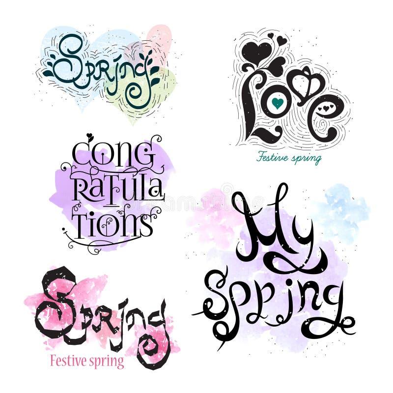 Logo di calligrafia della primavera L'icona del disegno Timbro a umido royalty illustrazione gratis
