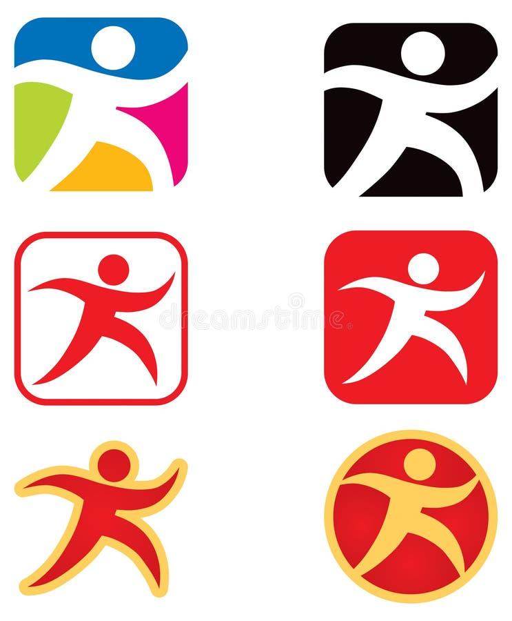 Logo di camminata funzionante della persona illustrazione di stock
