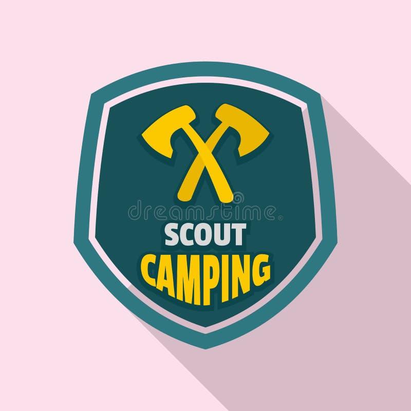 Logo di campeggio dell'esploratore, stile piano royalty illustrazione gratis