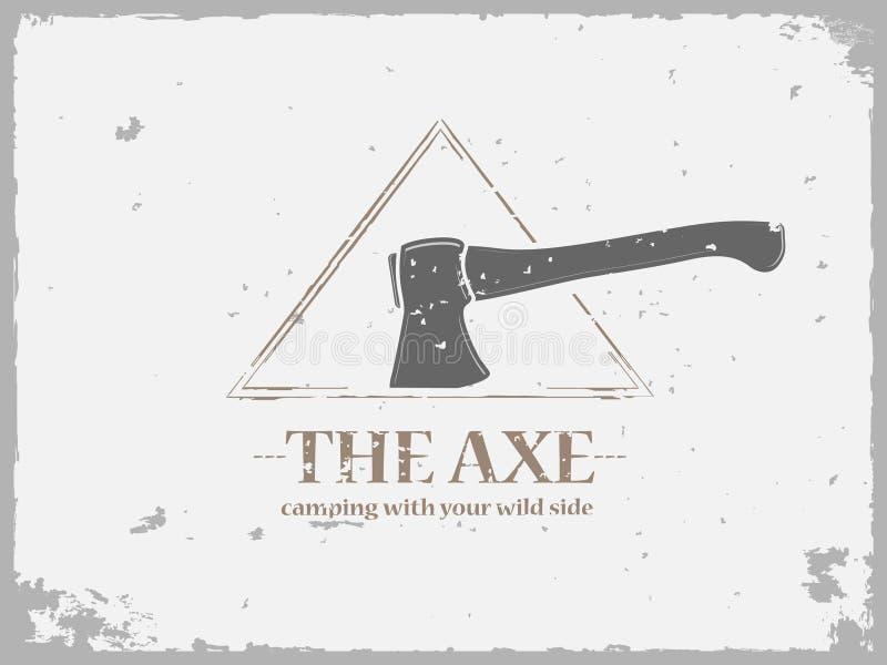 Logo di campeggio di lerciume con l'ascia illustrazione vettoriale