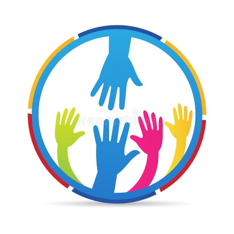 Logo di carità della gente della mano amica illustrazione di stock