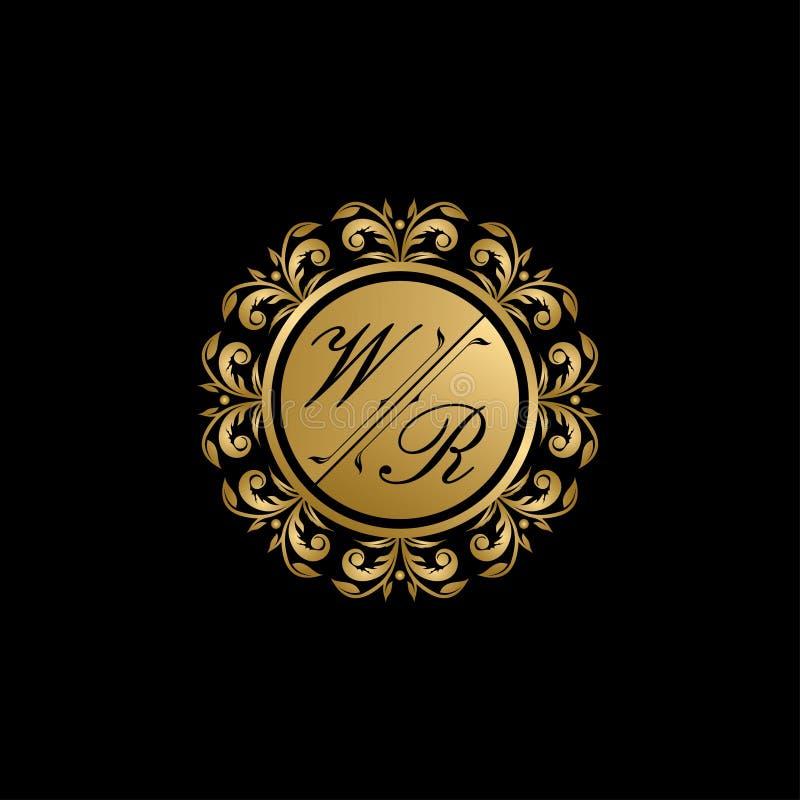 Logo di classe della lettera del segno WR di nozze dell'oro royalty illustrazione gratis