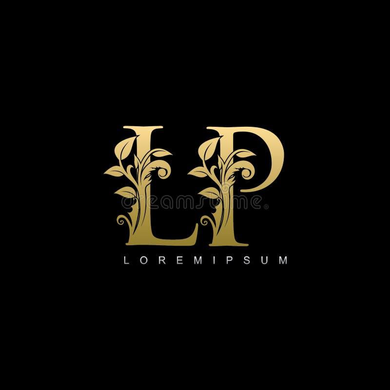 Logo di classe della lettera di LP della foglia di oro illustrazione di stock