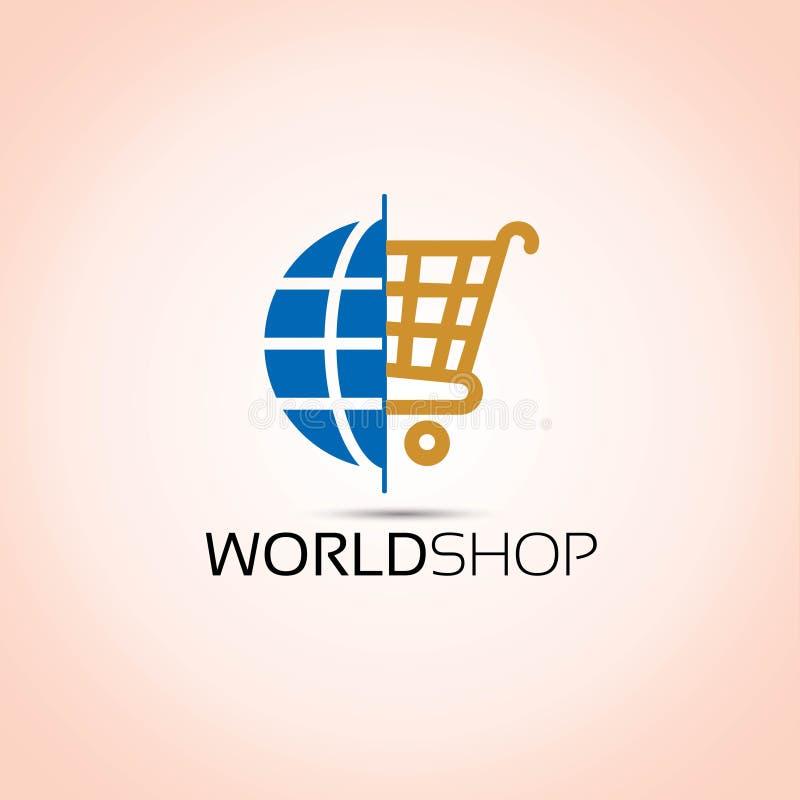 Logo di compera del mondo del carrello illustrazione di stock