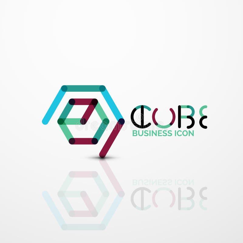 Logo di concetto di idea del cubo, linea illustrazione di stock