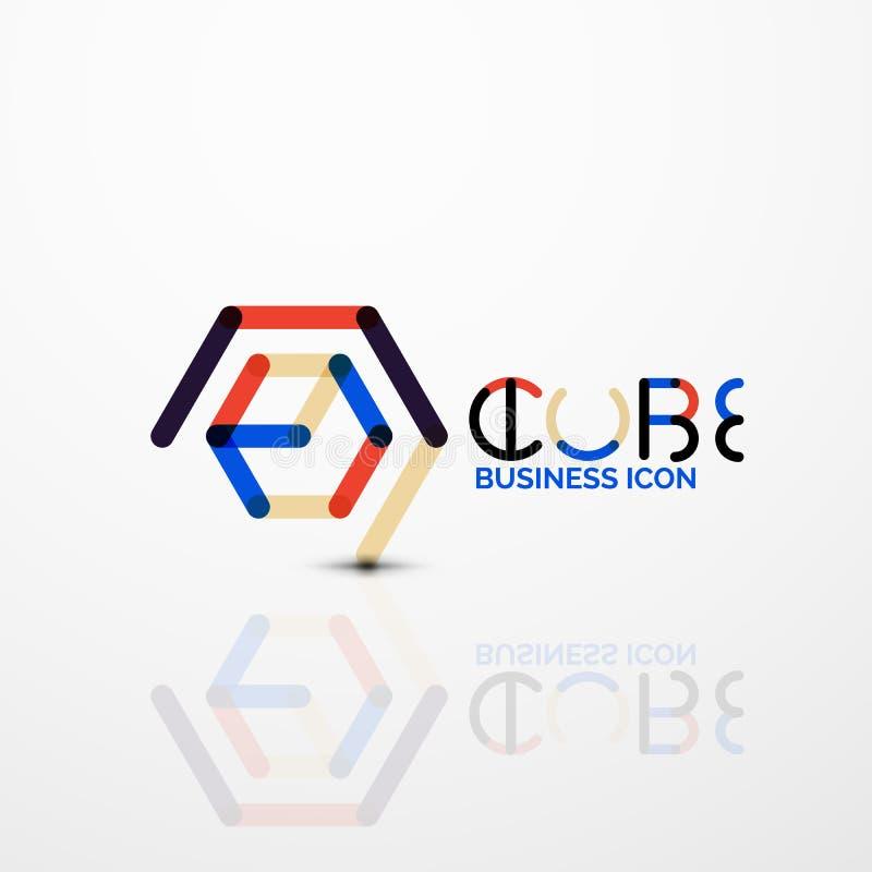 Logo di concetto di idea del cubo, linea illustrazione vettoriale
