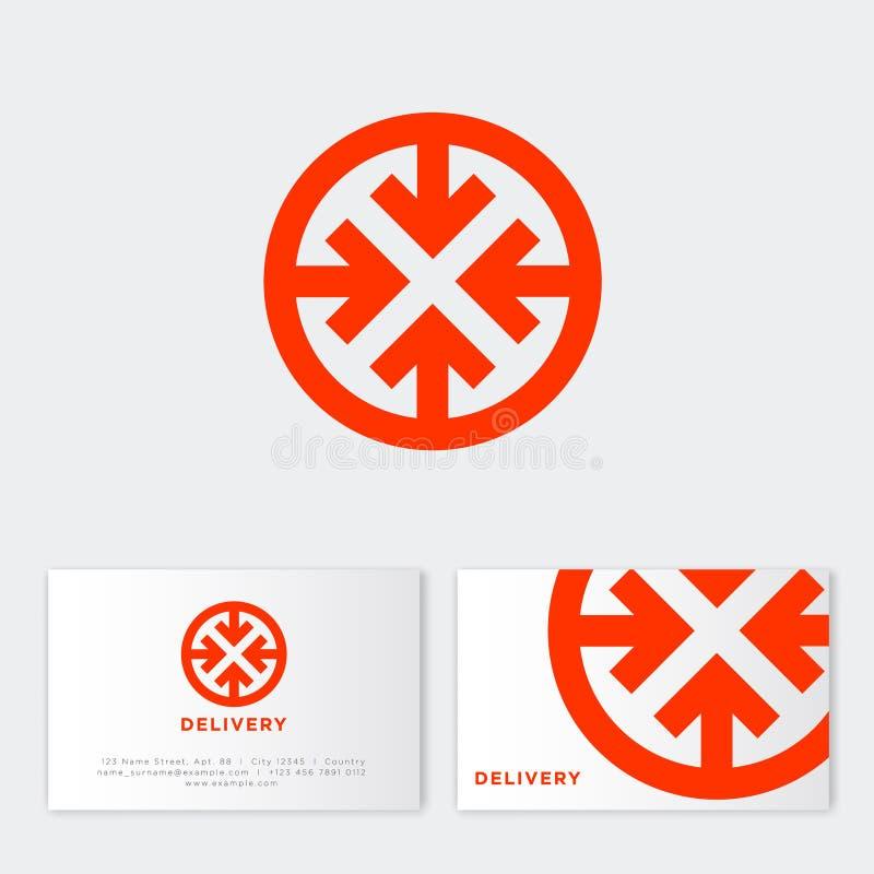 Logo di consegna precisa Icona logistica Simbolo rotondo semplice rosso con la freccia royalty illustrazione gratis