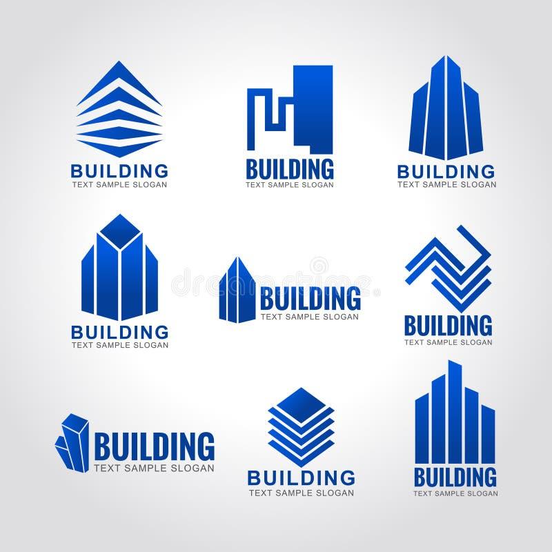 logo di costruzione del cielo blu di tono 9 illustrazione di stock