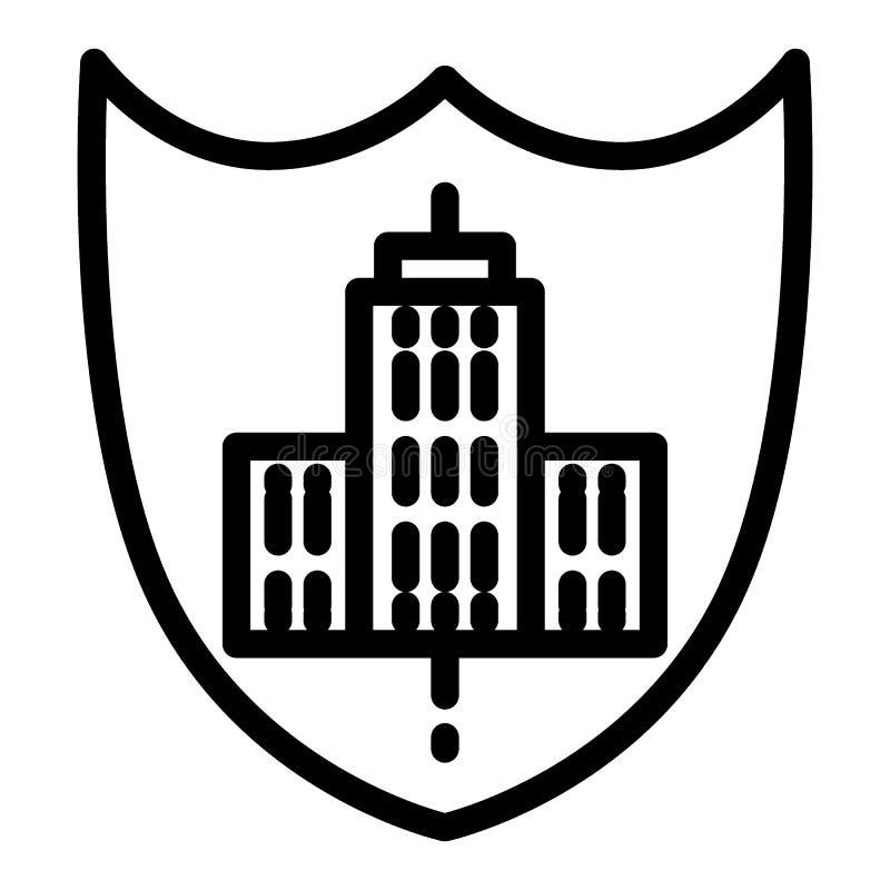 Logo di costruzione sulla linea icona dello schermo Illustrazione di costruzione dell'emblema isolata su bianco Stile del profilo royalty illustrazione gratis