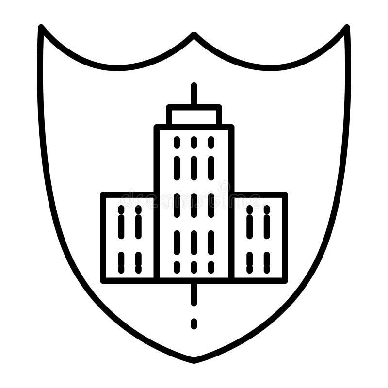Logo di costruzione sulla linea sottile icona dello schermo Illustrazione di costruzione dell'emblema isolata su bianco Profilo d royalty illustrazione gratis