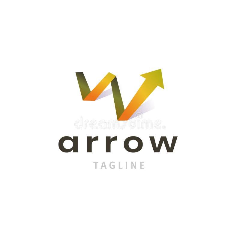Logo di crescita con la freccia su per l'identità di affari di successo isolata su fondo bianco Simbolo moderno della società royalty illustrazione gratis