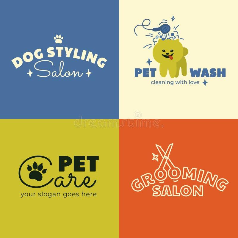 Logo di cura del cane Biglietto da visita o progettazione dell'insegna illustrazione vettoriale