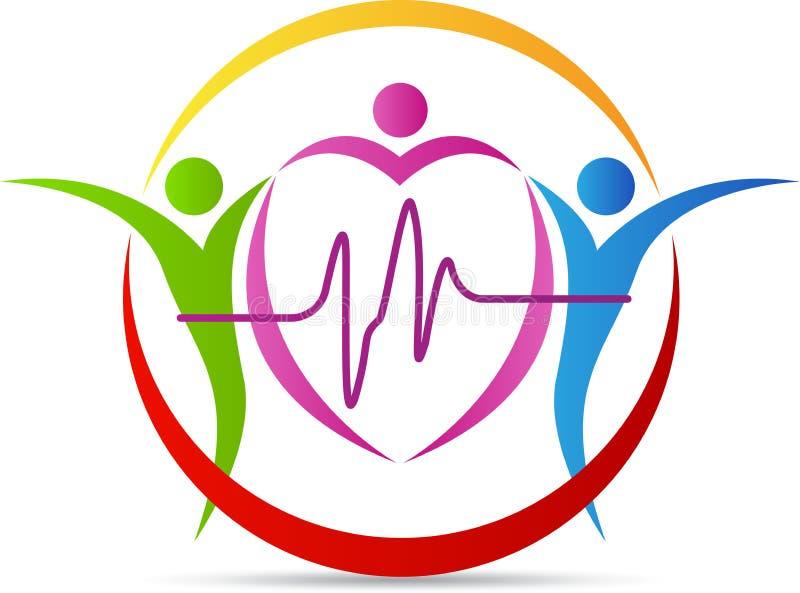 Logo di cura del cuore della gente illustrazione vettoriale