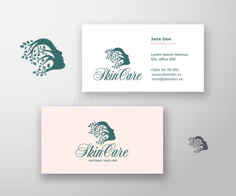 Logo di cura di pelle e modello del biglietto da visita Bello fronte della donna con capelli ricci dei rami con le foglie premio illustrazione vettoriale