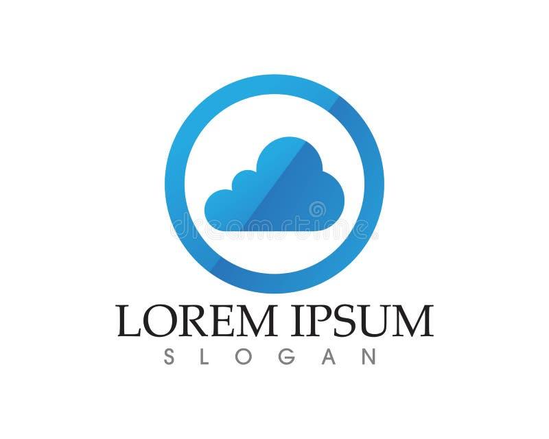 Logo di dati dei server della nuvola ed icone di simboli illustrazione di stock
