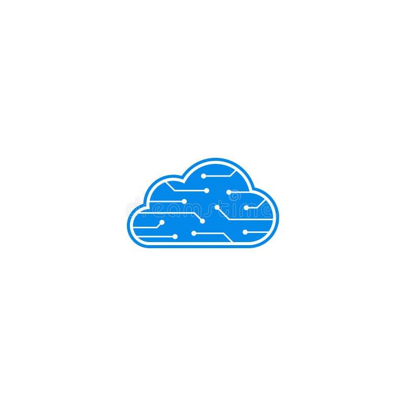 Logo di dati del cervello del computer royalty illustrazione gratis