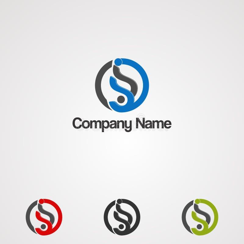 Logo di energia del cerchio con il vettore, l'icona, l'elemento ed il modello di logo di concetto della lettera s per la società illustrazione vettoriale