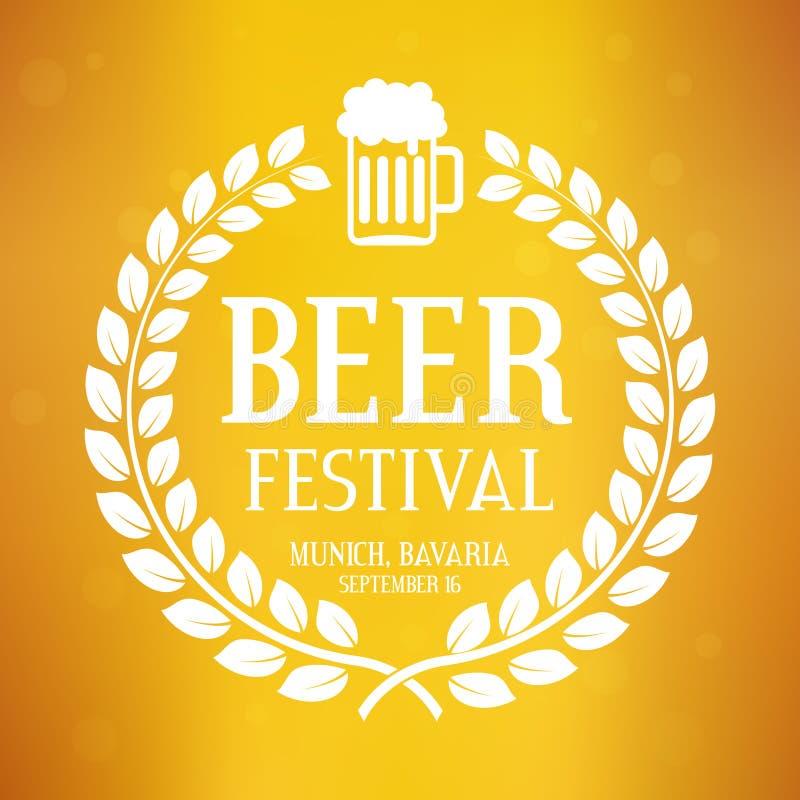 Logo di festival della birra con testo, la corona dell'alloro ed il vetro Fondo di vettore di Oktoberfest illustrazione vettoriale