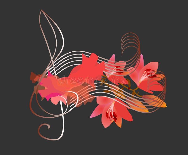 Logo di flamenco Chiave tripla, pezzo di lusso di tessuto rosso e note musicali nella forma dei fiori dei gigli su fondo nero con illustrazione vettoriale
