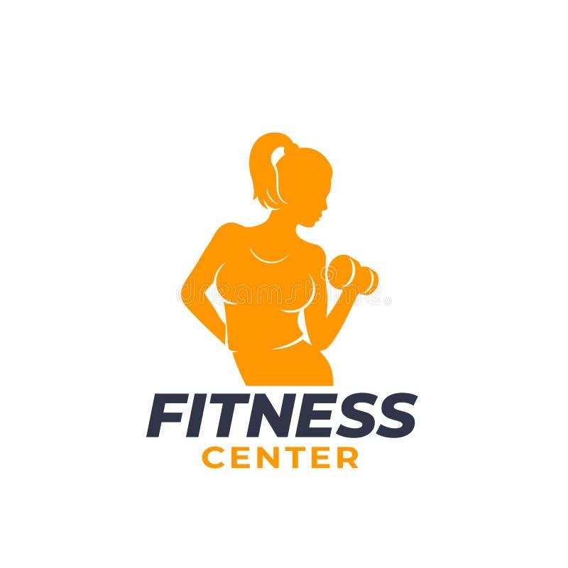 Logo di forma fisica con l'esercitazione della ragazza atletica illustrazione vettoriale