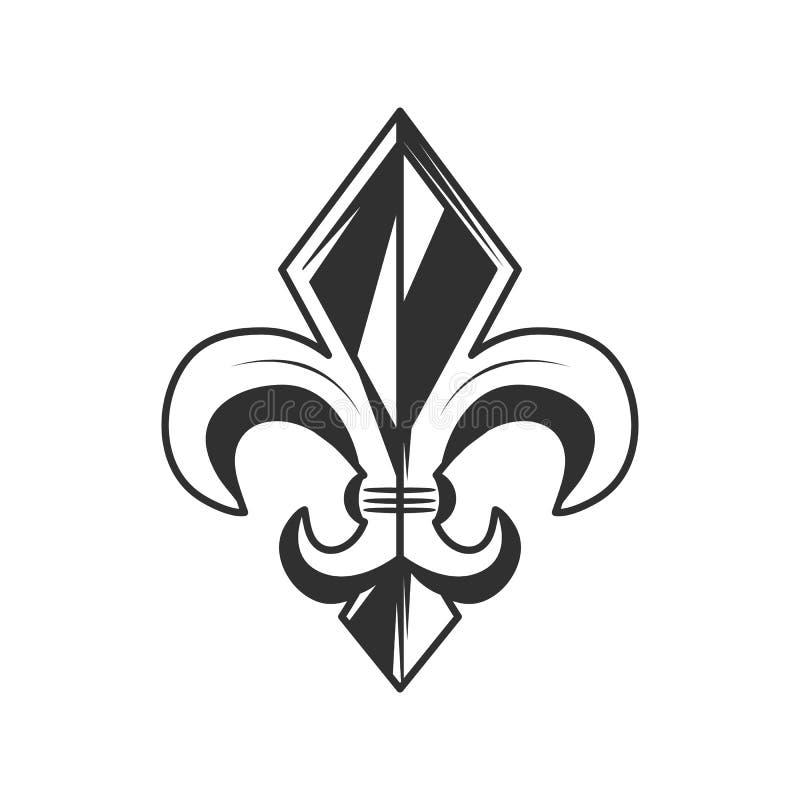 Logo di giglio araldico, icona Illustrazione di vettore royalty illustrazione gratis