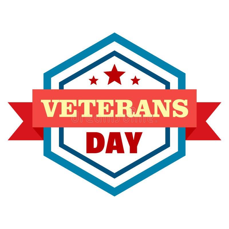 Logo di giornata dei veterani della stella, stile piano illustrazione di stock