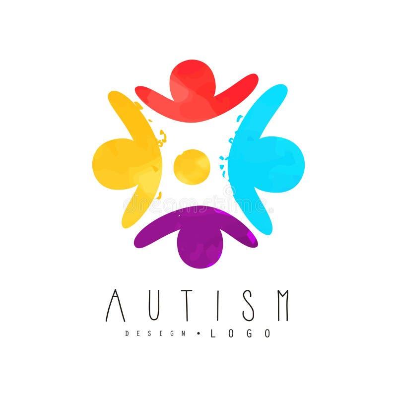 Logo di giorno di consapevolezza di autismo con gli esseri umani nel cerchio Malattia genetica Emblema variopinto di vettore per  illustrazione vettoriale