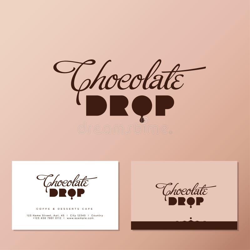 Logo di goccia di cioccolato per il caffè o il forno Composizione in tipografia con goccia di cioccolato, isolata su fondo legger royalty illustrazione gratis