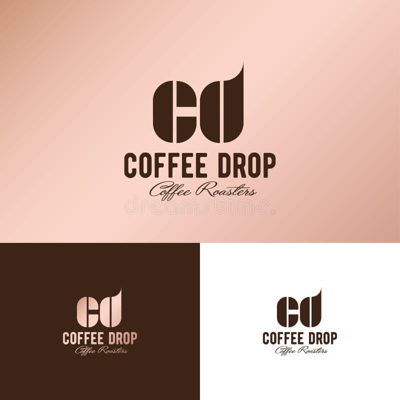 Logo di goccia del caff? Emblema del caffè sull'ambiti di provenienza differenti Monogramma di D e di C come goccia del caffè illustrazione di stock
