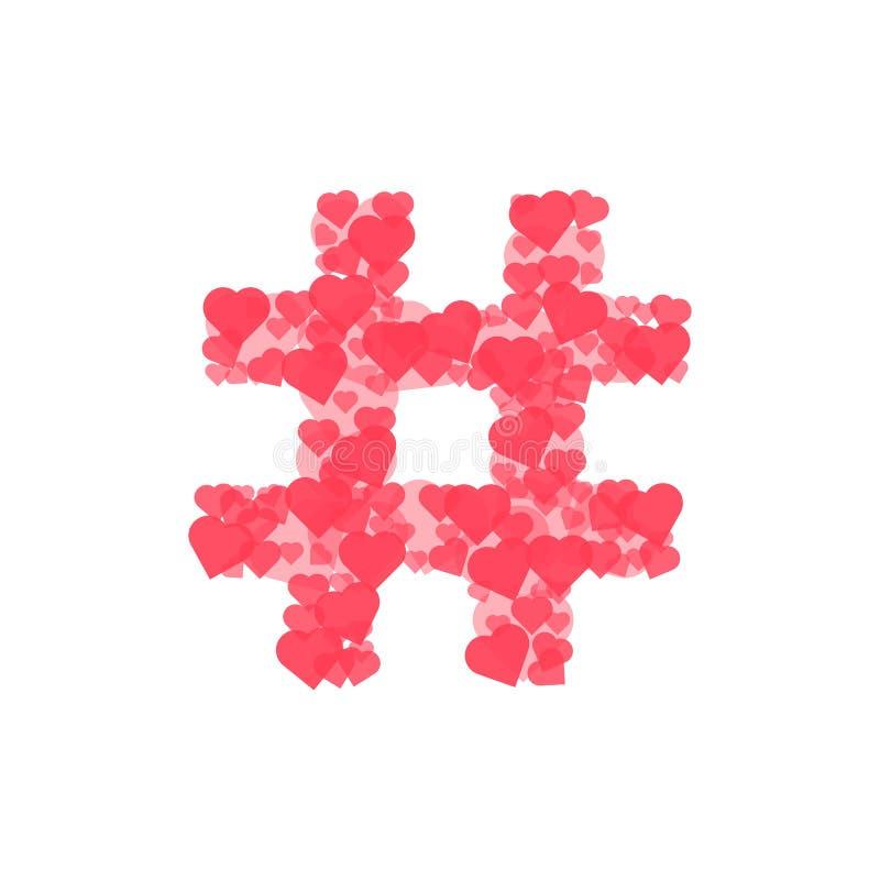 Logo di Hashtag dai cuori isolati su bianco illustrazione di stock