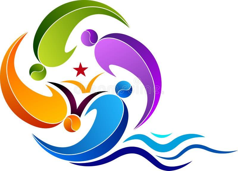 Logo di istruzione di nuoto royalty illustrazione gratis