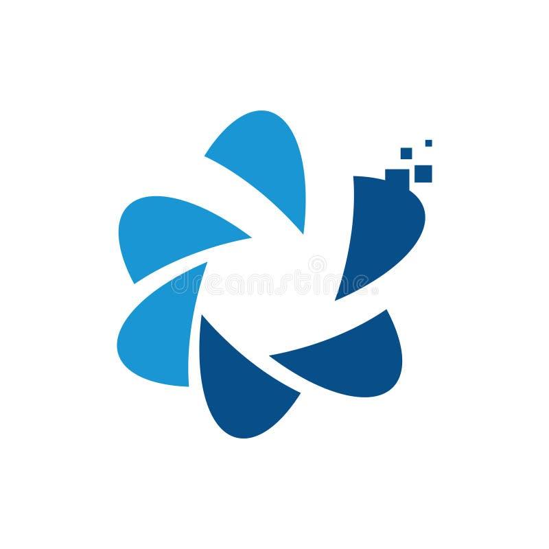 Logo di istruzione di tecnologia digitale della stella di scienza del pixel illustrazione vettoriale