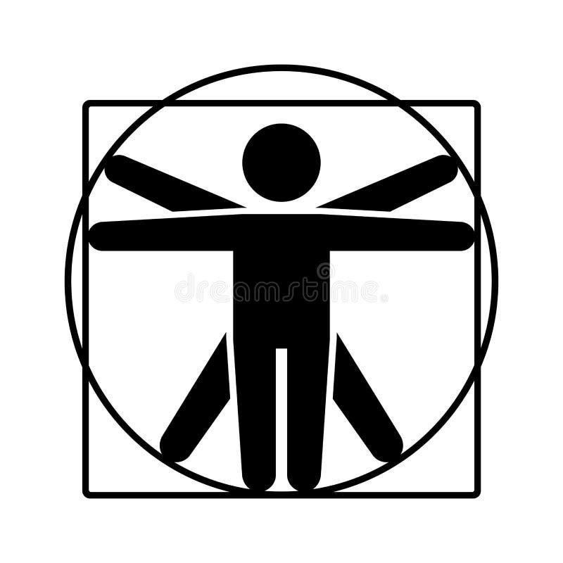 Logo di Leonardo da Vinci Vitruvian Man Sign Icona di stile del bastone Vettore royalty illustrazione gratis