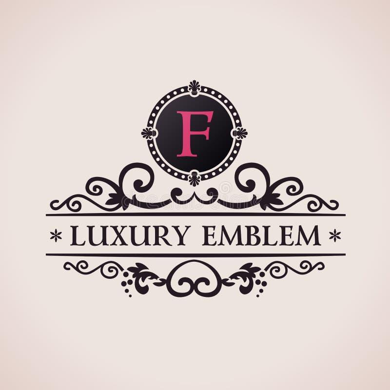 Logo di lusso Decorazione elegante del modello calligrafico royalty illustrazione gratis